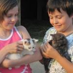 Barča s Jířou :-) a koťaty